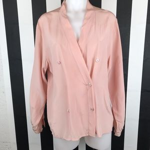 Max Mara Blush Pink Silk Double Breasted Blouse